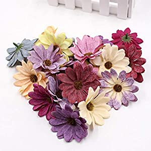 GSD2FF 10pcs/lot 6cm Silk Retro Daisy Artificial Flower Head Wedding Decoration DIY Wreath Scrapbook Craft Fake Flowers 72