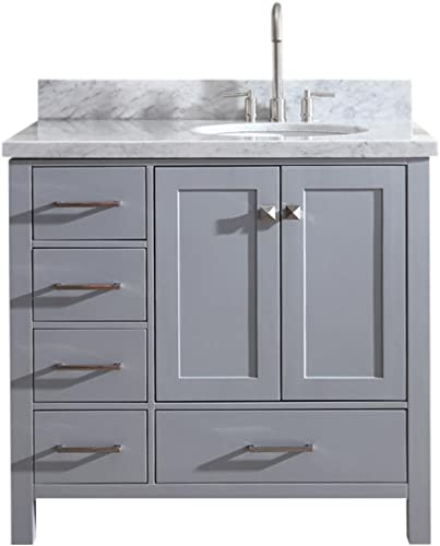 ARIEL 37 inch Right Offset Oval Sink Grey Bathroom Vanity Cabinet