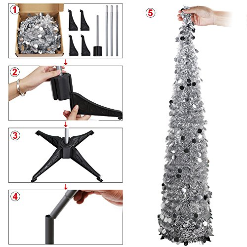 PartyTalk 5ft Pop Up Christmas Tree with Stand, Silver Tinsel Collapsible Artificial Christmas Tree for Holiday Christmas Home Decorations by PartyTalk (Image #2)