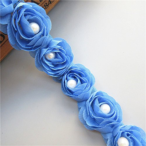 2 Meters 3D Rose Flower Pearl Chiffon Lace Edge Trim Ribbon 5 cm Width Vintage Style Blue Edging Trimmings Fabric Embroidered Applique Sewing Craft Wedding Bridal Dress Embellishment DIY Clothes -