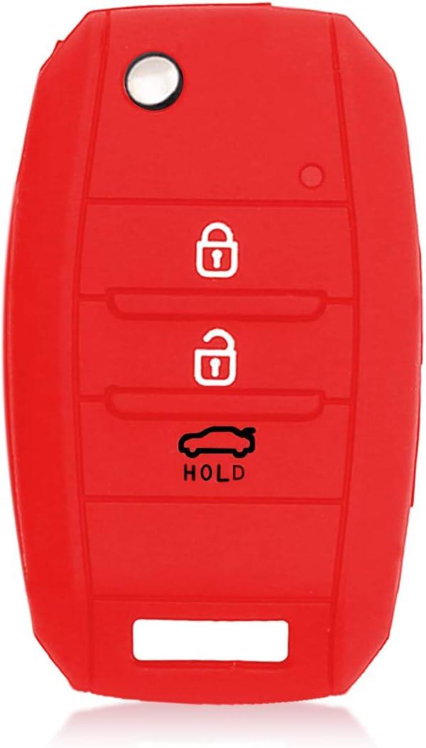 kwmobile Car Key Cover for Kia Race Arrows Black//White//White Silicone Protective Key Fob Cover for Kia 3-4 Button Car Key