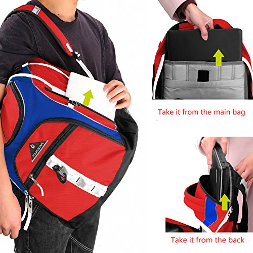 Laptop Backpack 15.6-Inch Business College Travel Computer Bag for Surface Water-Resistant Waterproof USB Charging Port Slim Light Weight Reflective Strip Rain Cover Large Capacity by Ramhorn(warmred) by Ramhorn (Image #5)