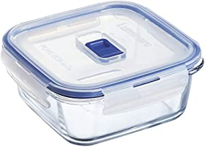 Luminarc Pure Box Active Glass Food Storage Container with Sliding Vent Lid (Square 1.6 Cups / 380 ML)