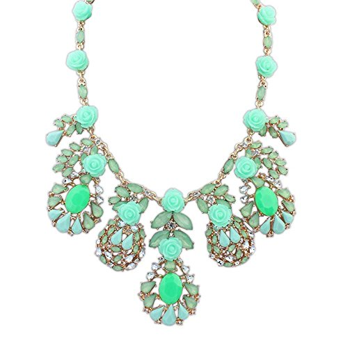 Oversized Deluxe Fox Tail (The Starry Night Green Deluxe Multi Rose Flowers Romantic Breath Drop Crystal Dress Statement Necklace)