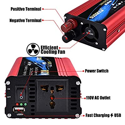 800W Power Inverter DC 12V/24V to 110V AC Converter with 2.4A USB Car Charger Adapter: Car Electronics