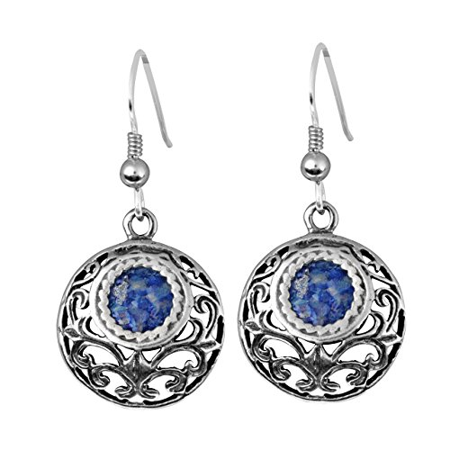 Sterling Silver & Ancient Blue Roman Glass Round Dangle Earrings