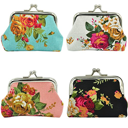 "Oyachic 4 Packs Coin Pouch Canvas Purse Pattern Clasp Closure Wallet Exquisite Gift 3.5""L X 2.8"" H (4 pack A big rose) from Oyachic"