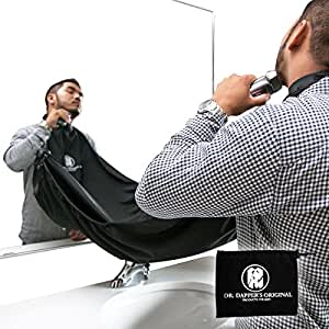 dr dappers beard bib cape for shaving beard catcher hair clippings apron with. Black Bedroom Furniture Sets. Home Design Ideas