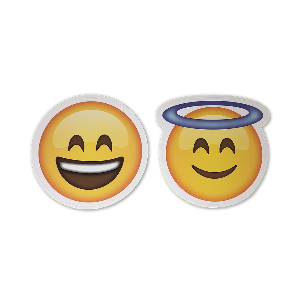 Amazon com large 5 smiling face with halo and smiling face emoji stickers