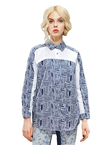 Elf Sack Womens' Spring Blouse Letters Print Lace Piecing Medium Size Blue