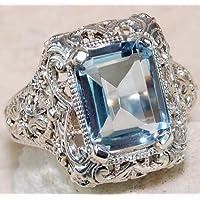Ransopakul Luxury Women Fashion 925 Sterling Silver Aquamarine Ring Wedding Gifts Jewelry (6)