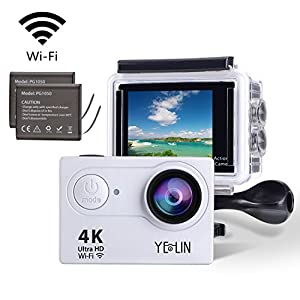 YELIN Action Camera 1080P Waterproof Sport Camera HD Camcorder Underwater Camera with 2 inch LCD Screen/170 Wide Angle Lens/2 Rechargeable Batteries