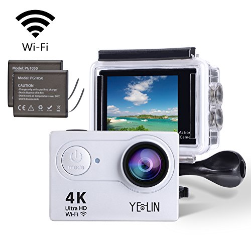 YELIN Action Camera 4K WiFi Waterproof Sport Camera HD 12MP Camcorder 170 Degree Lens with 2-inch LCD Screen 2 Rechargeable Li-ion Batteries 19pcs Accessories (Silver) YELIN