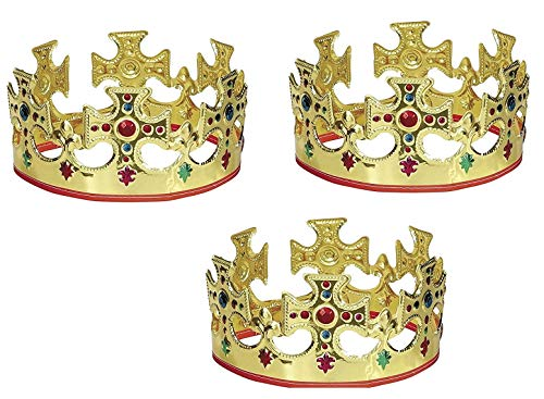 Unique Gold Plastic Jeweled King Crown (3) -