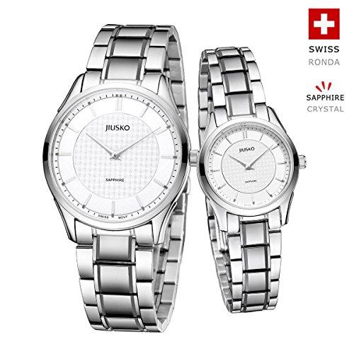 Jiusko Swiss - His Hers Couples Quartz Dress Wrist Watches - Sapphire - Silver Tungsten Steel - 325 by JIUSKO
