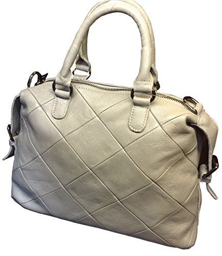 Visnow Women Genuine Cow Leather Satchel (light Grey)