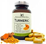 1000 mg turmeric capsules - Turmeric Curcumin Supplement Extra Strength with 1000mg Pure Organic Turmeric, 95% Standardized Curcumin Extract Plus BioPerine and Ginger for Absorption - 60 Vegan Capsules - Made in USA