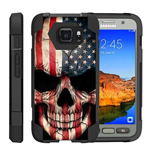 - TurtleArmor | Compatible with Samsung Galaxy S7 Active Case | G891A [Dynamic Shell] Hybrid Dual Layer Hard Shell Kickstand Silicone Case - US Flag Skull