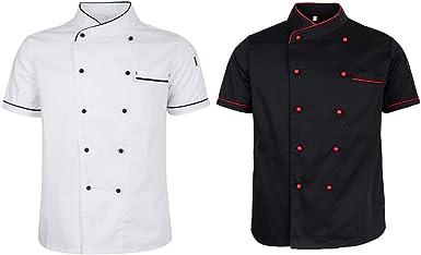 P Prettyia 2 Unids Chaqueta de Cocinero de Manga Corta con Bolsillo de Parche Uniforme de Chef de Cocina Transpirable de Verano Unisex - Estilo 2, XL: Amazon.es: Ropa y accesorios