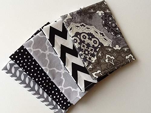 Set of 10 Small Kids Cotton Lunchbox Napkins 12 x 12 Single Ply Black White Gray Polka Dot