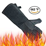 OZERO 662°F(350℃) Heat Resistant Welding Gloves, Leather BBQ Baking Grill Gloves Mitts for Tig Welder/Fireplace/Stove/Pot Holder - Soft Cotton Lining with 16 inches Long Sleeve for Men & Women - Gray