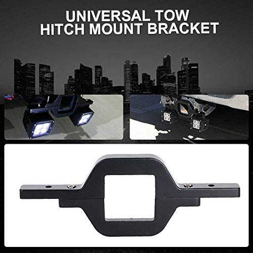 TURBOSII Universal Tow Hitch Mount Bracket With Dual 3x3 LED Pods Cube As Backup Reverse Rear Search Lights For Off-Road Truck SUV Trailer RV