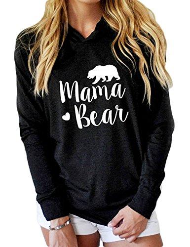 InStylish Womens Mama Bear Printing Long Sleeves Top Casual Hoodie Sweatshirt,Black,Medium - Bear Printing