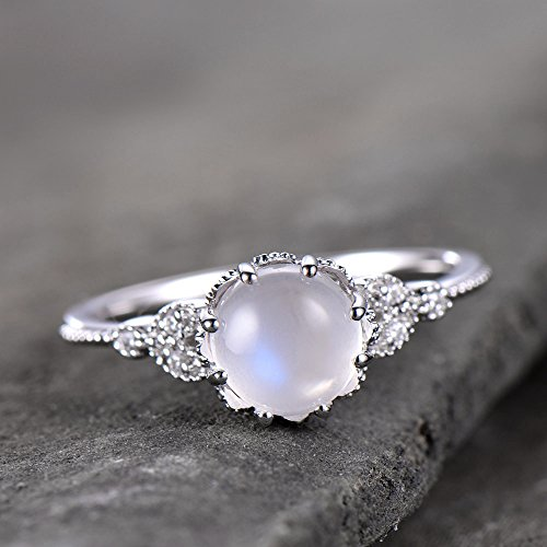 Moonstone Ring Art Deco Engagement Ring Vintage Floral Ring CZ Man Made Diamond Wedding Band Leaf Ring 925 Sterling Silver White Gold Plated ()