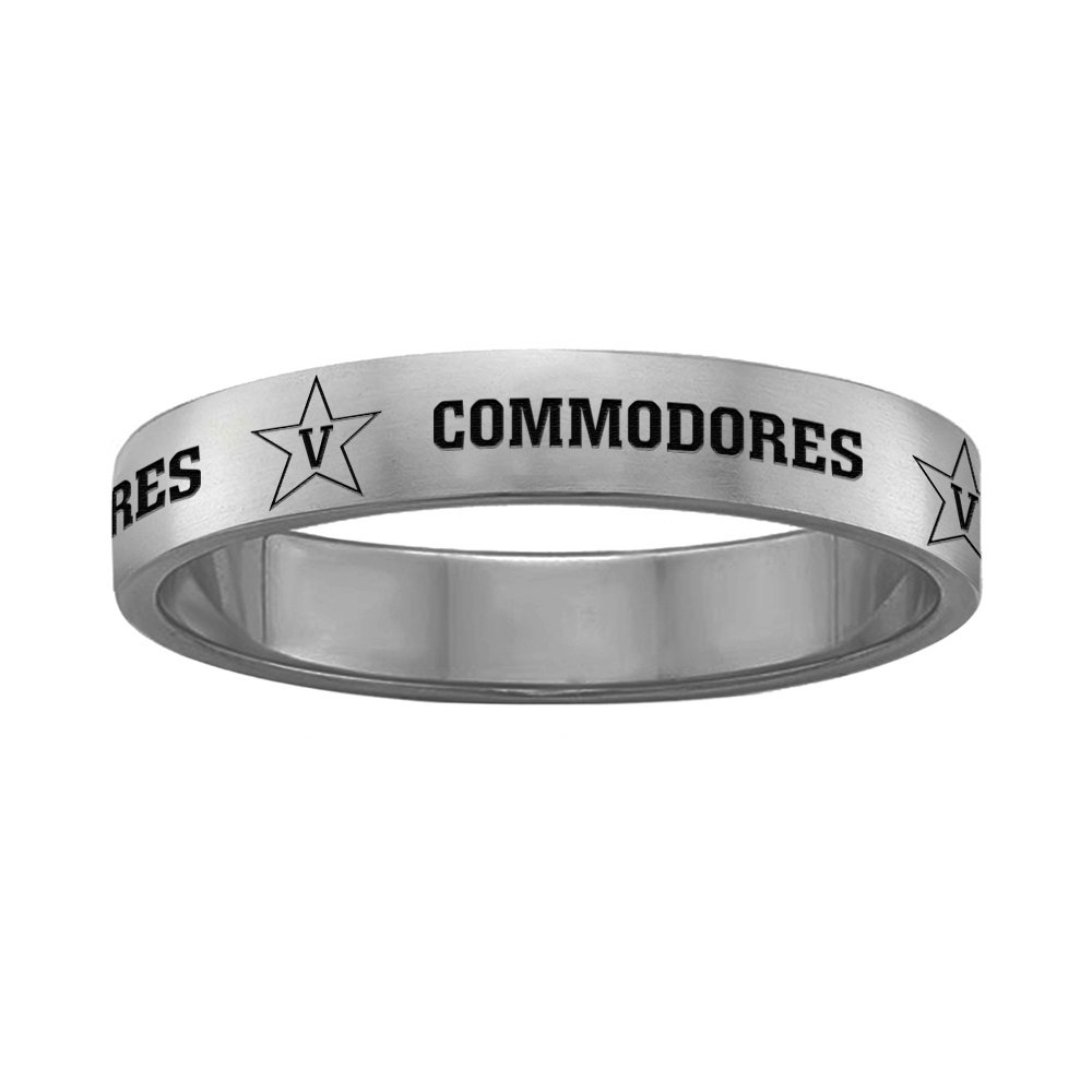 Full Logo College Jewelry Vanderbilt Commodores Ring Ring Narrow Style 4MM Wide Band