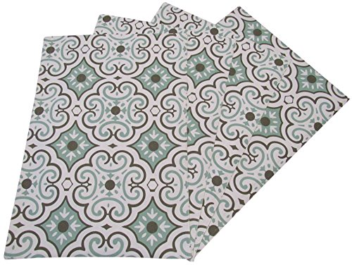 Tile Breakfast Top Table - Crabtree Collection Seafoam Tile Table Placemat Set by The Top 4-Pack Place Mats from 100% Cotton| Fresh, Trendy Design & Eye-Catching Colors| Dining Table Accessory for Home, Restaurant, Café