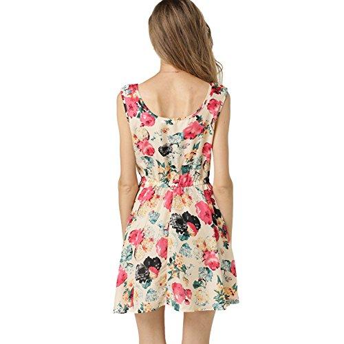 La Cabina Sexy Robe Femme Classique en Floraux Sans Manches en Mousseline de Soie Robe Femme été 2017