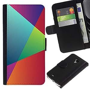 JackGot ( Geometría del arco iris ) Samsung Galaxy S4 Mini i9190 (NOT S4) la tarjeta de Crédito Slots PU Funda de cuero Monedero caso cubierta de piel