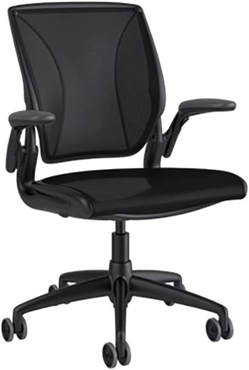 Humanscale Diffrient World Task Chair | Catena Black Mesh and Seat | Black Frame with Black Trim | Height-Adjustable Duron Arms | Standard Foam Seat, 3