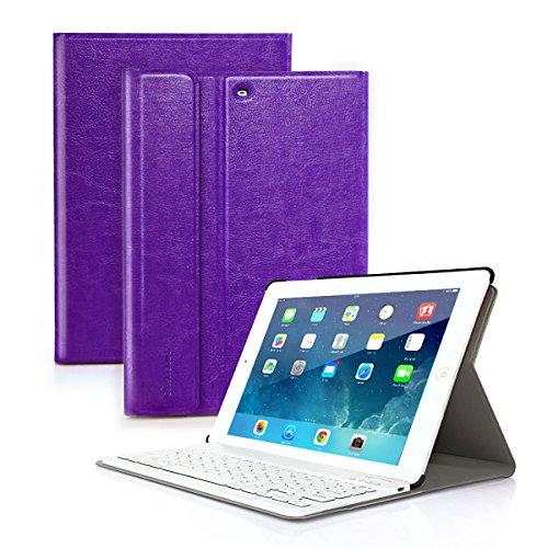 CoastaCloud iPad mini 1/2/3 Keyboard Case PU Leather Folio Stand Cover with Detachable Wireless Bluetooth Keyboard for iPad mini 3/iPad mini 2/iPad mini 1(Purple)