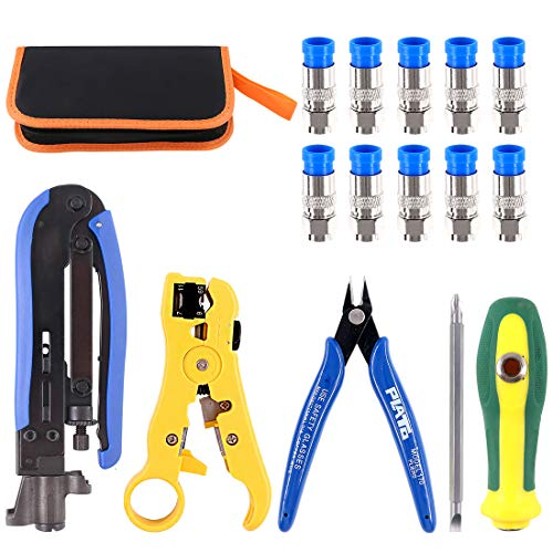 Glarks Adjustable Coaxial Compression Tool Coax Cable Crimper Electrical Wire Cable Cutter Kit, RG6 RG59 RG11 75-5 75-7 Coaxial Cable Stripper with 10pcs F Compression Connector Packed In Leather Bag