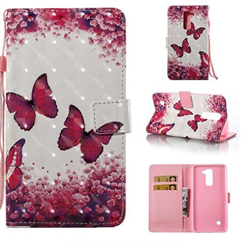 Lg Stylo 2 Case, PU Leather Wallet Case Durable Magnetic Case Cover Credit Card Holder Protective Book Case Xmas Halloween Birthday Gift for Lg Stylo 2/Lg Stylus 2/Ls775-Butterfly -