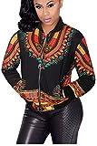 Women's Casual Bomber Jackets Plus-Size Vintage Fashion Printed Long Sleeve Dashiki Coat Black 5XL