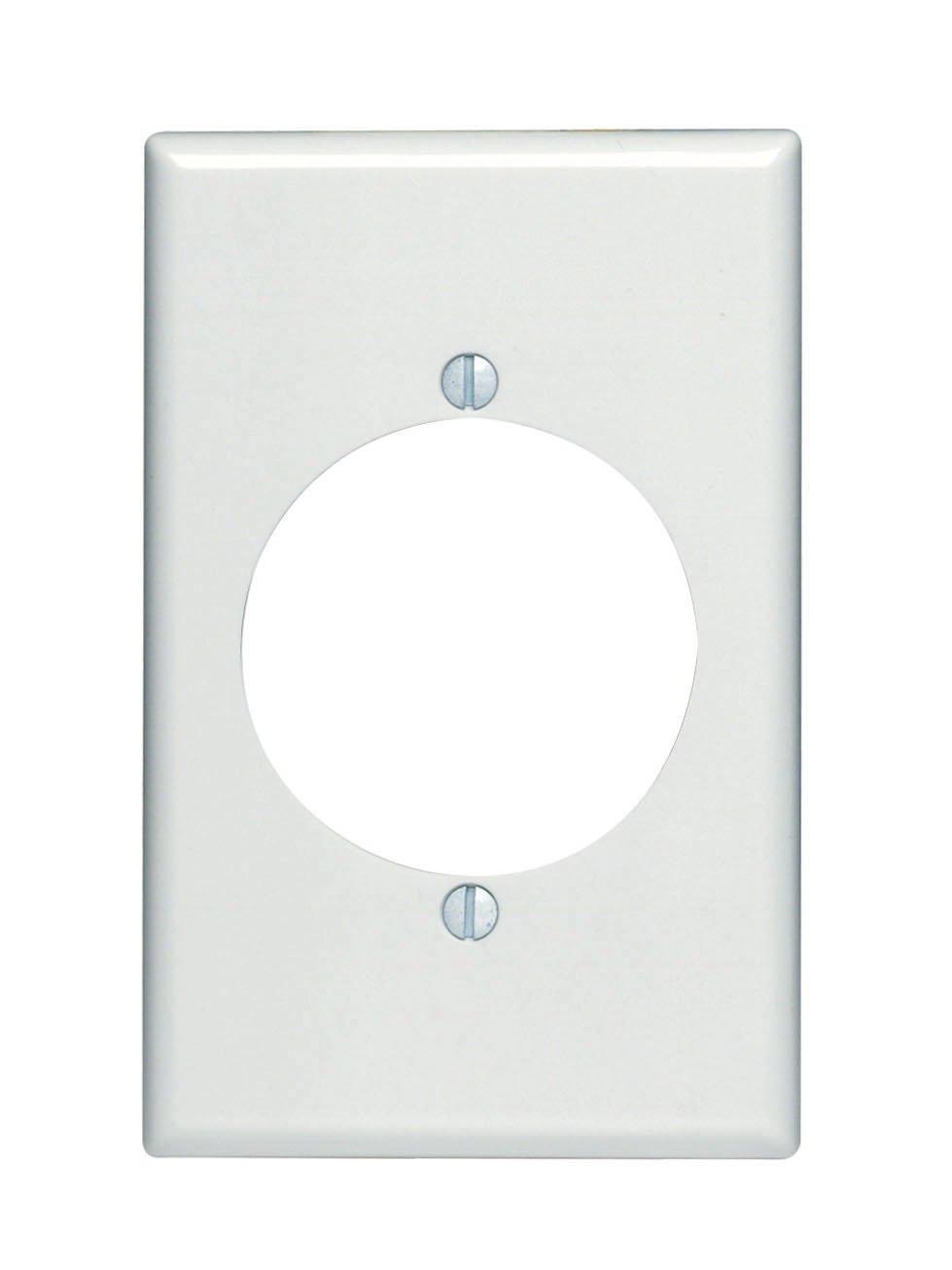 Leviton 80528-W 1-Gang Flush Mount 2.15-Inch Diameter, Device Receptacle Wallplate, Midway Size, White