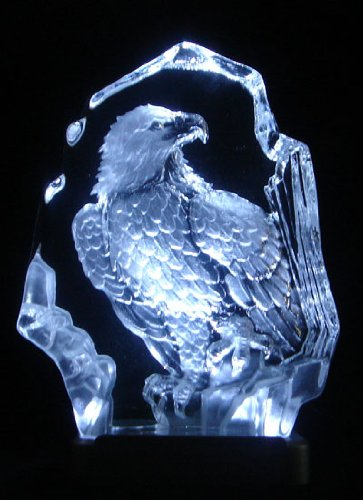 (JJ's Engraved Lead Crystal Stand Eagle on LED White Light Base )