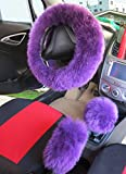 "Womens Girls Ladies Fashion Winter Warm Sheepskin Wool Steering Wheel Cover Fuzzy Fluffy Sheepskin HandBrake 1 Set 3 Pcs 14.96""x14.96"""