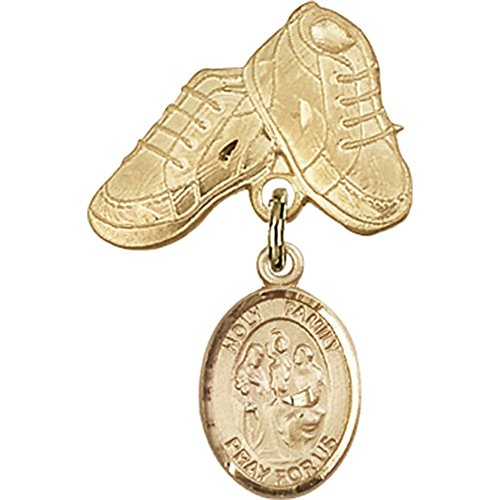 14kt Yellow Gold Baby Badge with Holy Family Charm and Baby Boots Pin 1 X 5/8 inches by Unknown