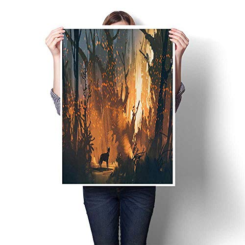 (Wall Art Scenery Oil Painting Lost Dog in Illuminated Forest Mystical Lights Over Trees Adventure Spooky On Canvas,12