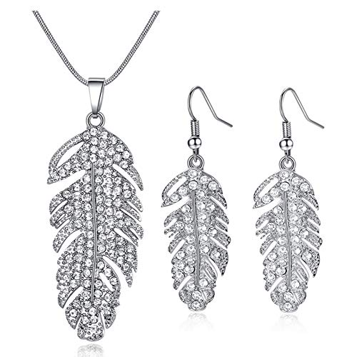 (ATDMEI Feather Pendant Necklace and Earrings Set Sterling Silver Plated for Women Girls Zircon Jewelry)