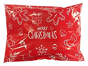 Christmas Poly Mailers, Pack of 100, Self-Adhesive Flat Bags, Extremely Durable - 3.0mil Thickness … (6x9)