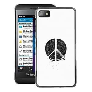 Supergiant (Peace Hippie White Black Pen Art Sign) Impreso colorido protector duro espalda Funda piel de Shell para Blackberry Z10