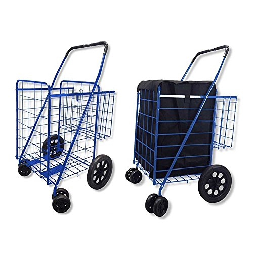 Double Basket Flat Folding Shopping Cart with Swivel Wheels for Laundry Grocery Shopping (Blue Cart with Blue Liner)