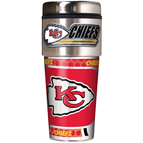 NFL Kansas City Chiefs Metallic Travel Tumbler, Stainless Steel and Black Vinyl, 16-Ounce
