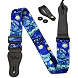 """Van Gogh """"Starry Night"""" Guitar Strap Includes Strap Button & 2 Strap Locks Shoulder Strap For Bass, Electric & Acoustic Guitar"""