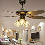Huston Fan Modern Chandelier Ceiling Fan with 5 Reversible Wood Blade and Remote,3