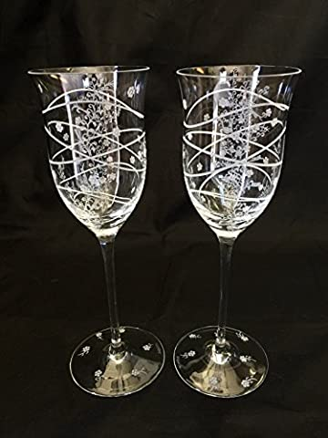 Hand Engraved Wine Goblets, Flowers, Housewarming, Home Decor, Toasting, crystal wine glass etched, Floral wine glass, Wine Glasses Hand - Floral Etched Crystal
